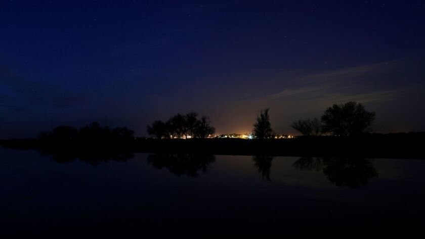 After dusk on the Middle River in the Sacramento-San Joaquin Delta.