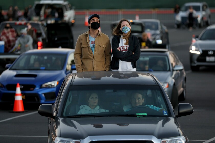 Fans attend Concerts in Your Car at the Ventura County Fairgrounds in Ventura, Calif., on July 18.