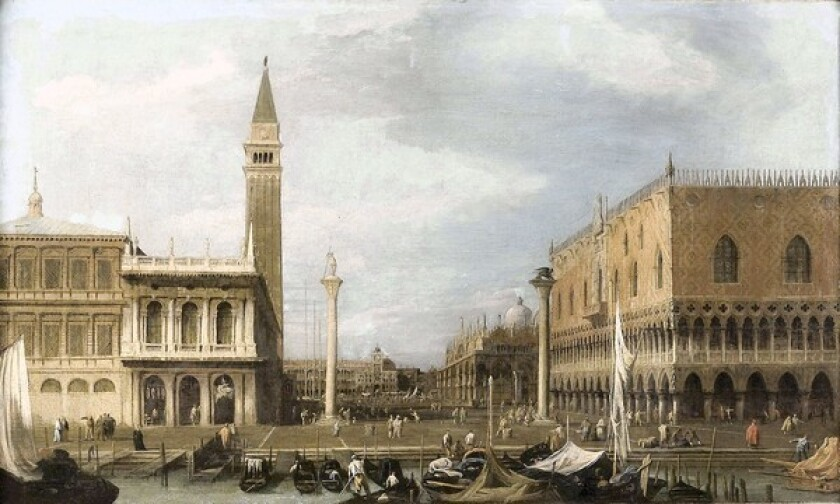 """The restored """"Venice: The Molo from the Bacino di S. Marco"""" by Giovanni Antonio Canal recently made its public debut at the Denver Art Museum."""