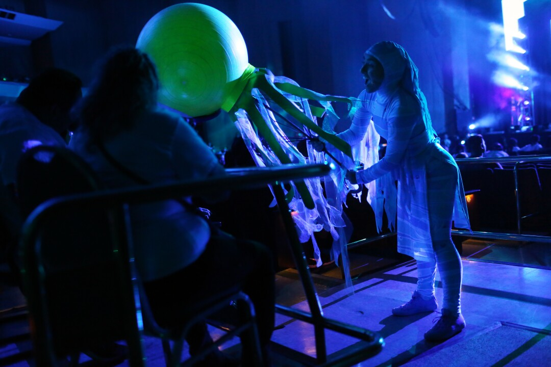 """""""Baby Shark Live!"""" opens with performers and puppets interacting with the audience"""