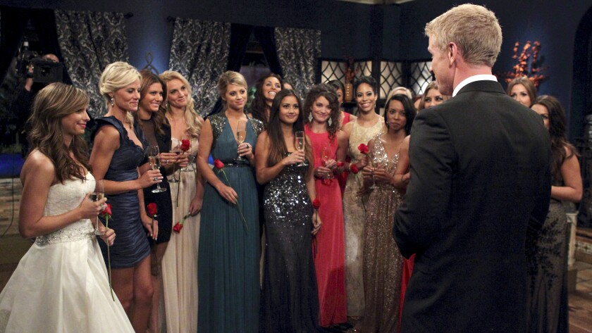 "Sean Lowe, right, in ""The Bachelor: The Greatest Seasons Ever"" on ABC."
