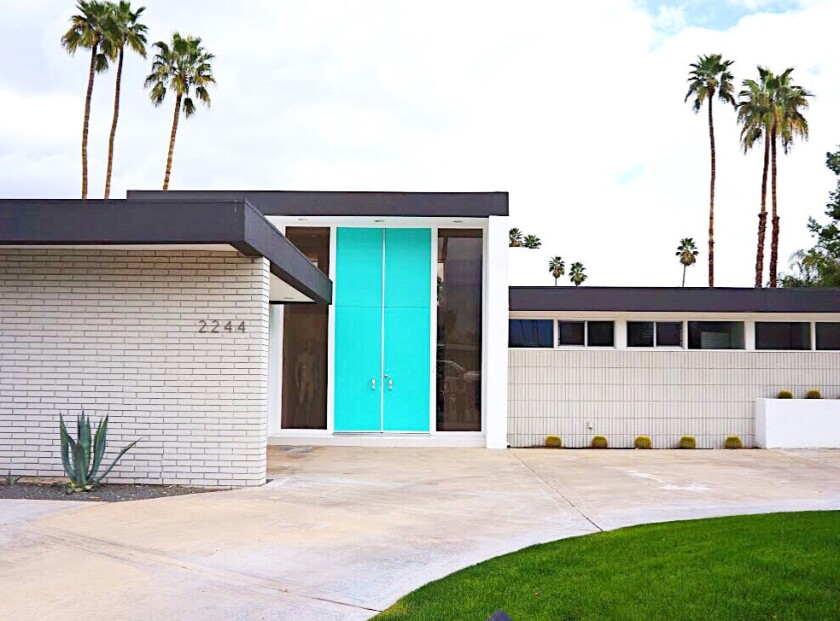 Dunn-Edwards Tiffany Blue MWDT03 custom color created for the Modernism Week Door Tour (hence the MWDT before the number) in February in Palm Springs. While these are not part of the current palette, anyone going to a Dunn-Edwards store can request these and other Modernism Week colors.