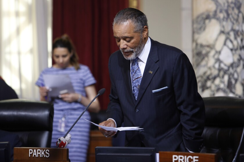 Councilman Bernard C. Parks speaks during a City Council meeting about SOLA, his proposed nickname for South Los Angeles.