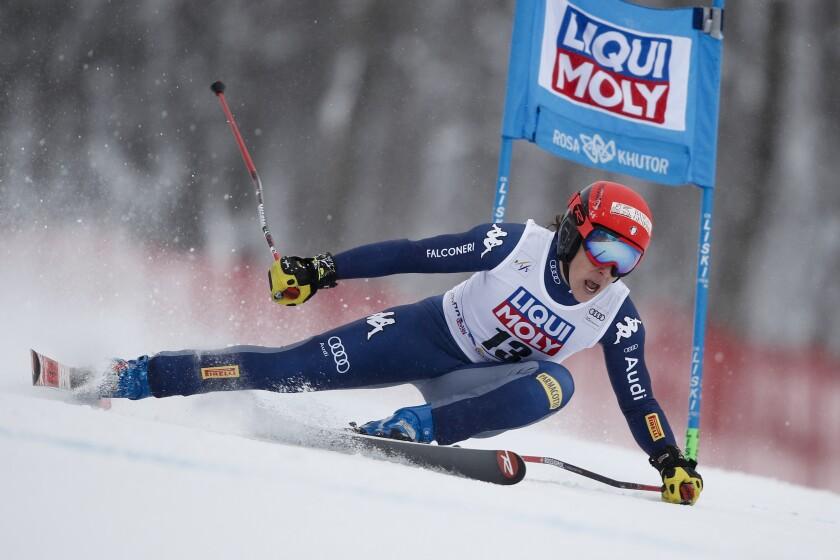 Italy's Federica Brignone competes in an alpine ski, women's World Cup super G, in Rosa Khutor, Russia, Sunday, Feb. 2, 2020. (AP Photo/Gabriele Facciotti)