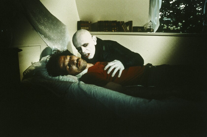 """Director Werner Herzog and actor Klaus Kinski during the production of """"Nosferatu The Vampyre."""""""