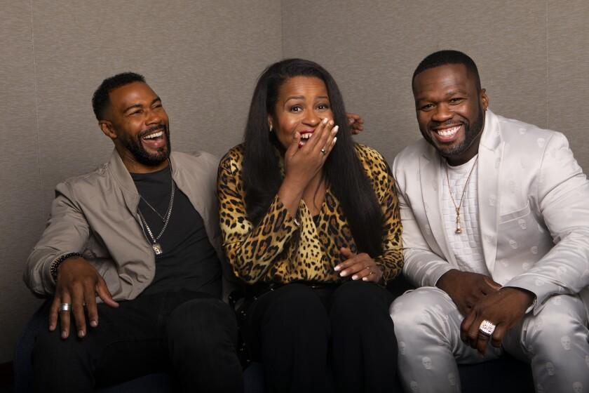 "Omari Hardwick,  left, Courtney A. Kemp, and Curtis ""50 Cent"" Jackson of ""Power."""