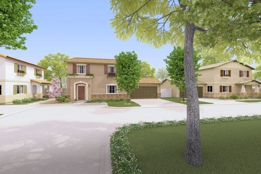 Pictured is a street-view rendering of Center Place, a new housing development planned for Costa Mesa's Westside at Center Street and Placentia Avenue. There are different architectural styles planned for the five homes there, which will have a 1,621-square-foot floor plan.