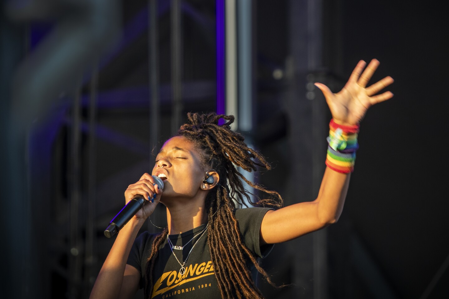 LOS ANGELES, CALIF. -- SUNDAY, NOVEMBER 10, 2019: Willow Smith performs on the Flog stage during Day 2 of the Camp Flog Gnaw Carnival at Dodger Stadium parking lot in Los Angeles, Calif., on Nov. 10, 2019. (Allen J. Schaben / Los Angeles Times)
