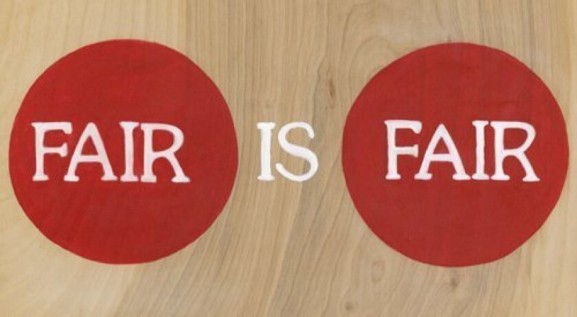 'A Fair Sign' introduces an interactive installation by UCSD grad students in Visual Arts. K. Clark, E. Grenadier, H. Spriggs.