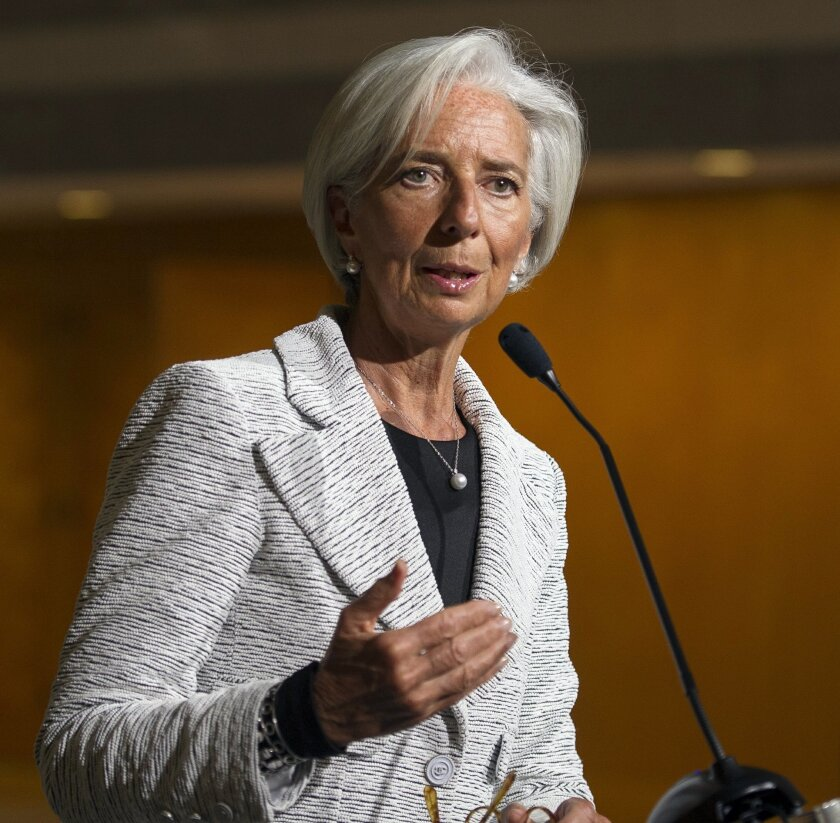 International Monetary Fund (IMF) Managing Director Christine LaGarde makes a statement about sanctions leveled against Russia, during a news conference following an IMF Executive Board meeting at IMF Headquarters in Washington, Wednesday, April 30, 2014. LaGarde announced that the IMF board has ap