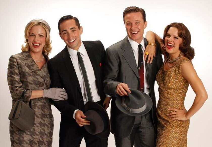 """The cast of merry men and women: Kelly Sullivan (left, top photo), Eric Schneider, Will Chase and Amy Spanger star in """"Robin and the 7 Hoods"""" Carol Rosegg"""