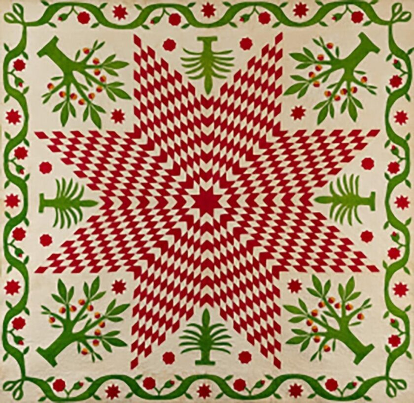 'Star of Bethlehem with Pomegranate Trees Quilt,' circa 1850