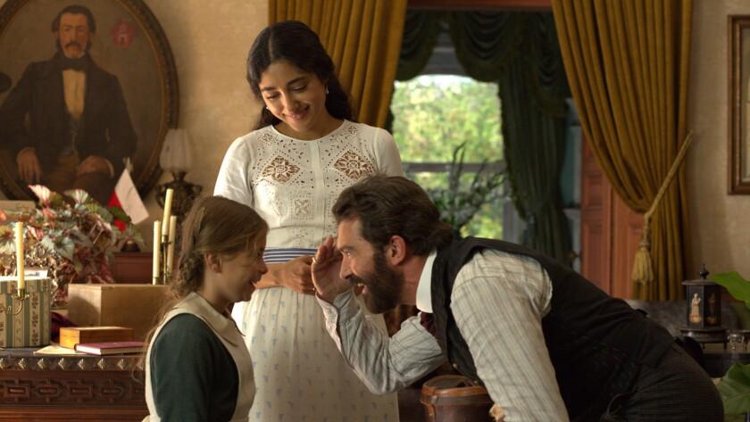 "Allegra Allen, from left, Golshifteh Farahani and Antonio Banderas in the movie ""Finding Altamira."""