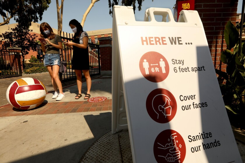 USC students do their wellness screening to enter campus online.