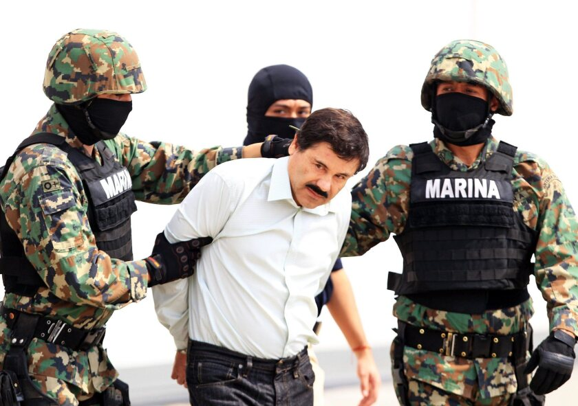 Mexican drug lord Joaquin Guzman after he was taken into custody in 2014.