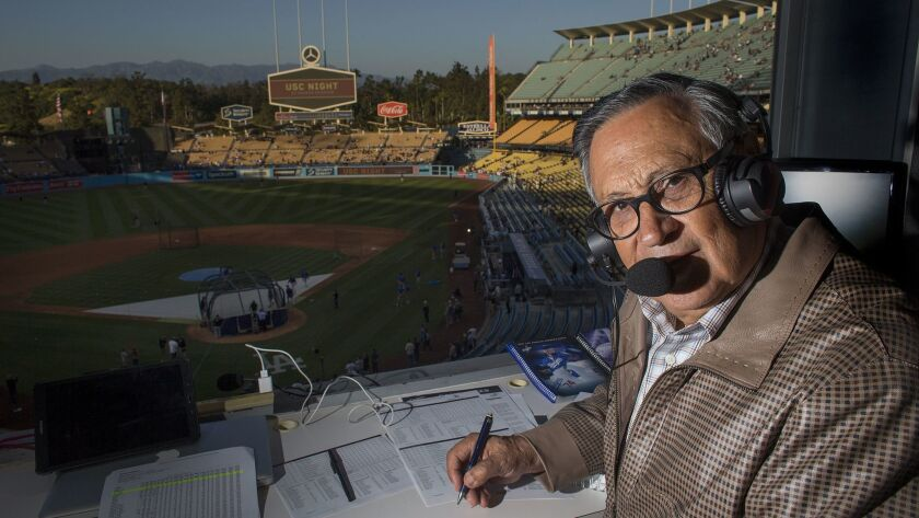 LOS ANGELES, CA - APRIL 19, 2017: Jaime Jarr'n is the Spanish voice of the Dodgers and has been cal