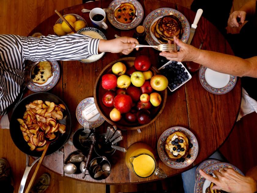 Gather around for pancakes.