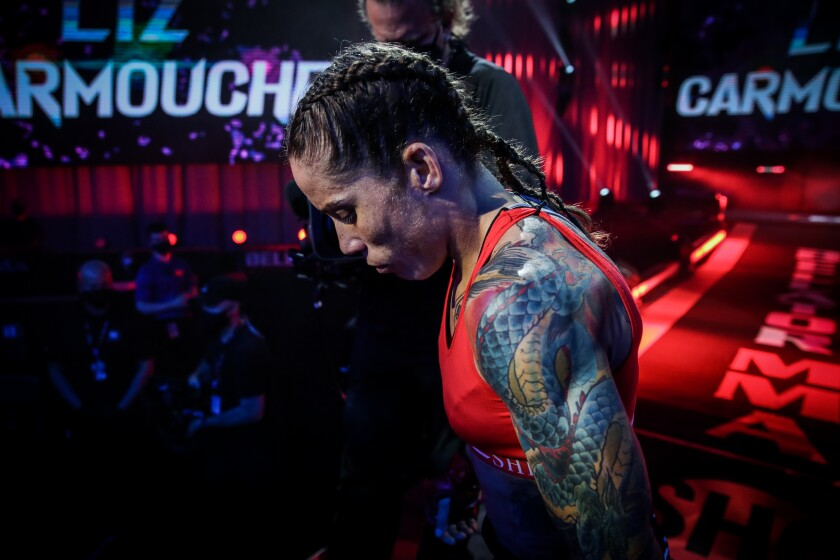 Longtime San Diegan and Marine Liz Carmouche is preparing for an upcoming Bellator MMA fight to be shown on Showtime.