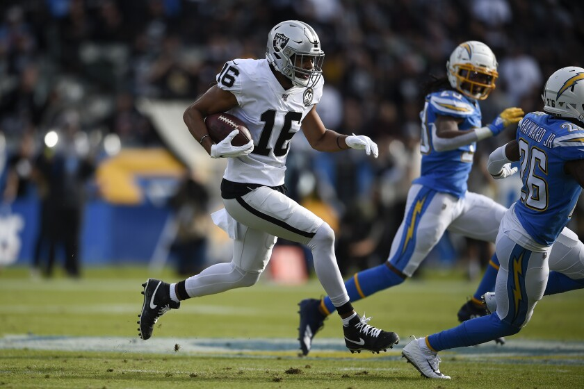 FILE - In this Dec. 22, 2019, file photo, Oakland Raiders wide receiver Tyrell Williams runs against the Los Angeles Chargers during the first half of an NFL football game in Carson, Calif. Las Vegas Raiders' Williams has a torn labrum in his shoulder that he will try to play through this season. A person with knowledge of the injury confirmed that Williams got hurt in practice last week. The person spoke on condition of anonymity because the team has not made any announcement. (AP Photo/Kelvin Kuo, File)