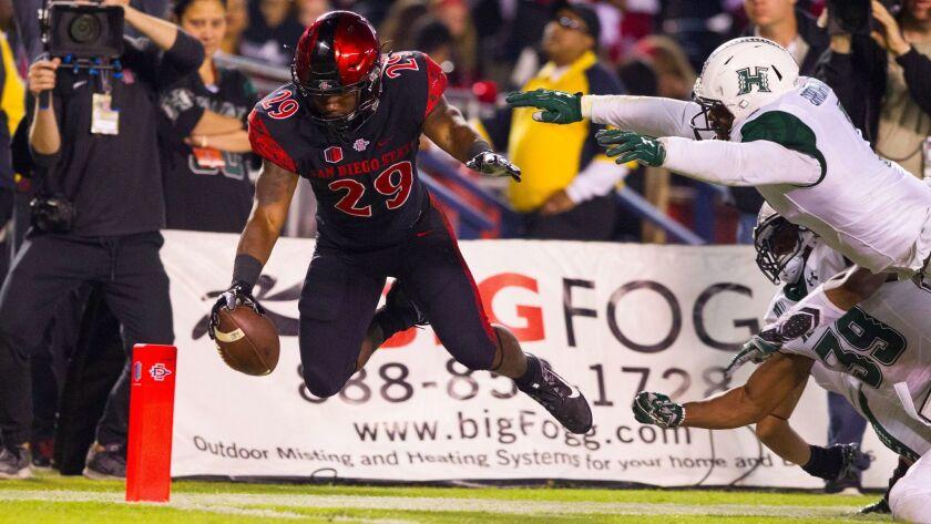 SAN DIEGO, November 5, 2016 | SDSU Aztecs vs. Hawaii Rainbow Warriors at Qualcomm Stadium in San Diego, CA. SDSU running back Juwan Washington scores a leaping touchdown. Chadd Cady for The San Diego Union-Tribune