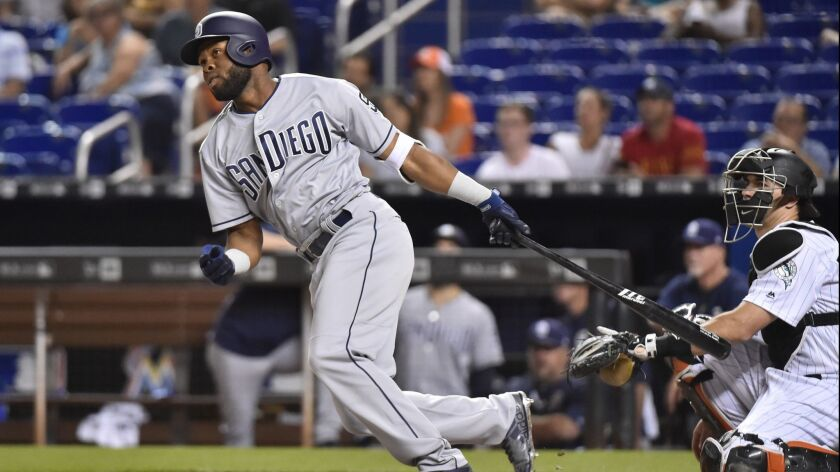 Manuel Margot doubles against the Miami Marlins on June 8.