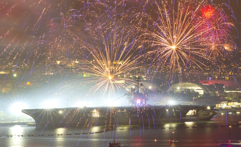 Fireworks fill the sky near the USS Theodore Roosevelt.