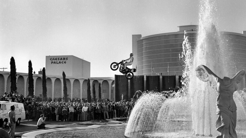 Daredevil Evel Knievel successfully cleared the Caesars fountains but then was seriously injured when he crash-landed. He spent New Year's Eve 1967 in a Las Vegas hospital.