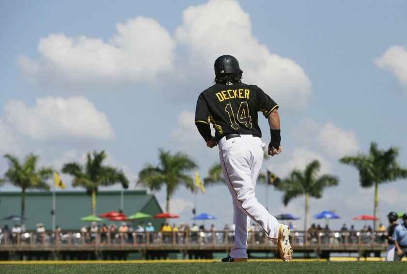 FILE - In this Tuesday, March 24, 2015 file photo, Pittsburgh Pirates' Jaff Decker leads off third during the eighth inning of a spring training exhibition baseball game against the Baltimore Orioles in Bradenton, Fla. The Pirates have the second-best record in the majors since 2013, a run that res