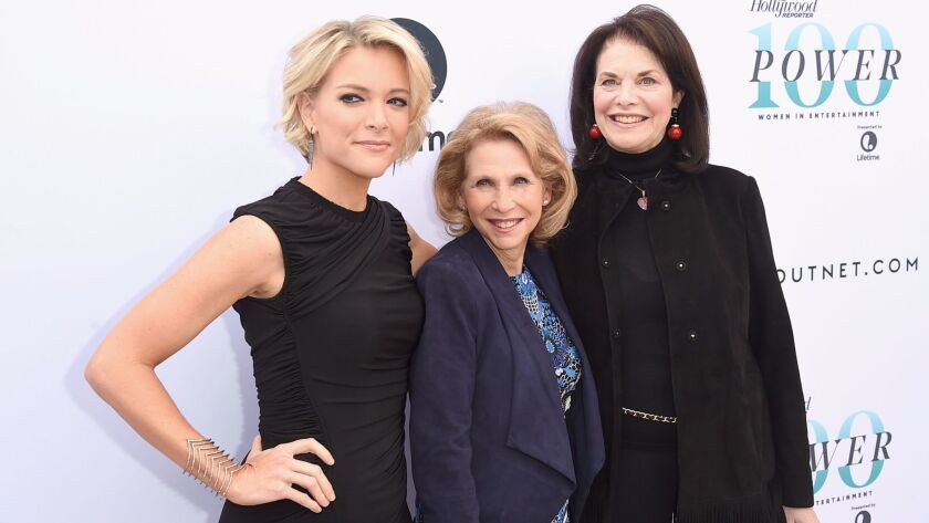 From left: Honorees Megyn Kelly, Shari Redstone and Sherry Lansing attend the annual Women in Entertainment Breakfast in Los Angeles on Dec. 7.
