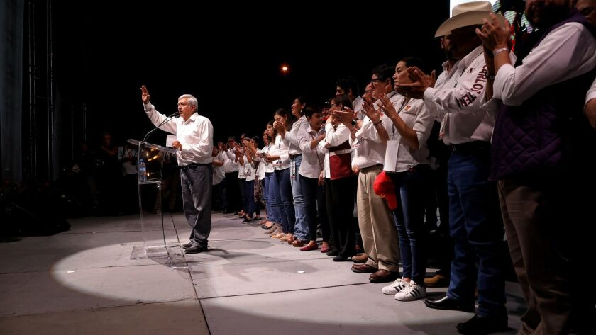 CHIHUAHUA, CHIHUAHUA -- MONDAY, JUNE 18, 2018: Andrés Manuel López Obrador, the front-runner in Mexi