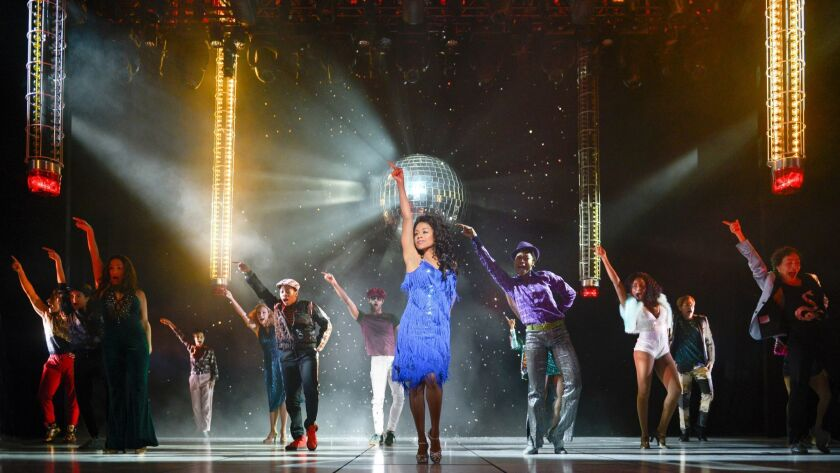 """Ariana DeBose (center) as """"Disco Donna"""" with the cast of La Jolla Playhouse's world premiere of SUMM"""