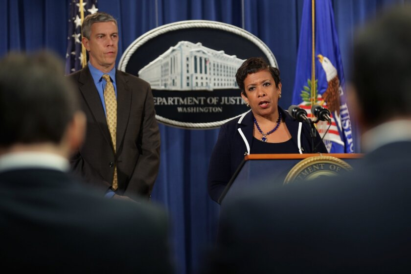 U.S. Atty. Gen. Loretta Lynch and Education Secretary Arne Duncan announce a civil settlement involving Education Management Corp., the nation's second-largest for-profit college chain.