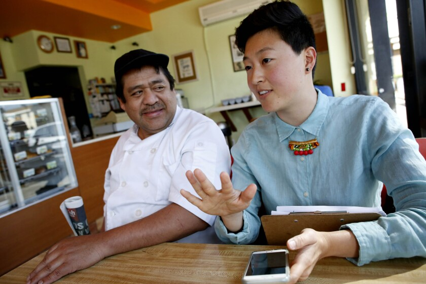Noe Flores, left, and Ara Kim filed claims for unpaid wages at Flying Pig. Flores received only about 40% after he won his case. In many wage cases in California, businesses switch ownership or change names.