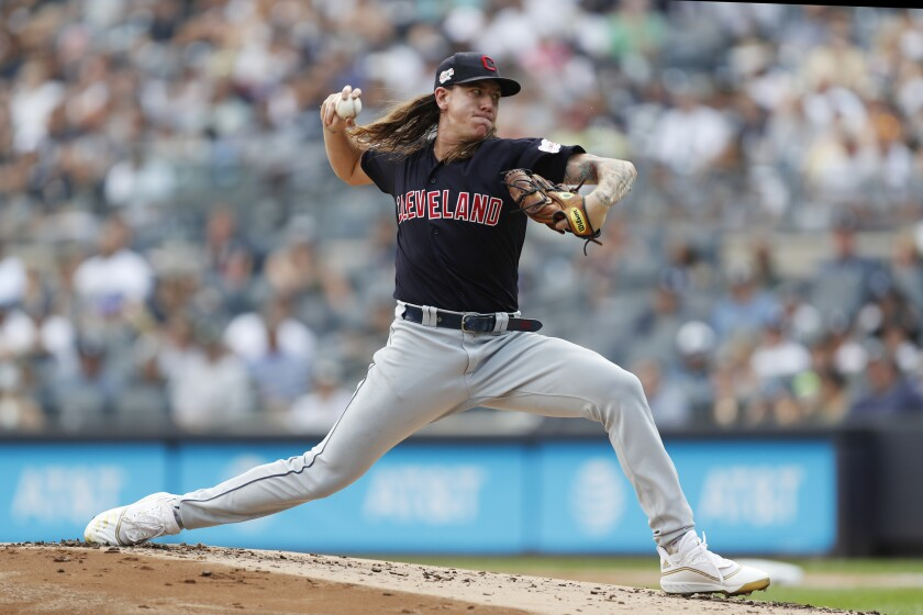 Padres newcomer Mike Clevinger, shown pitching last year for Cleveland.