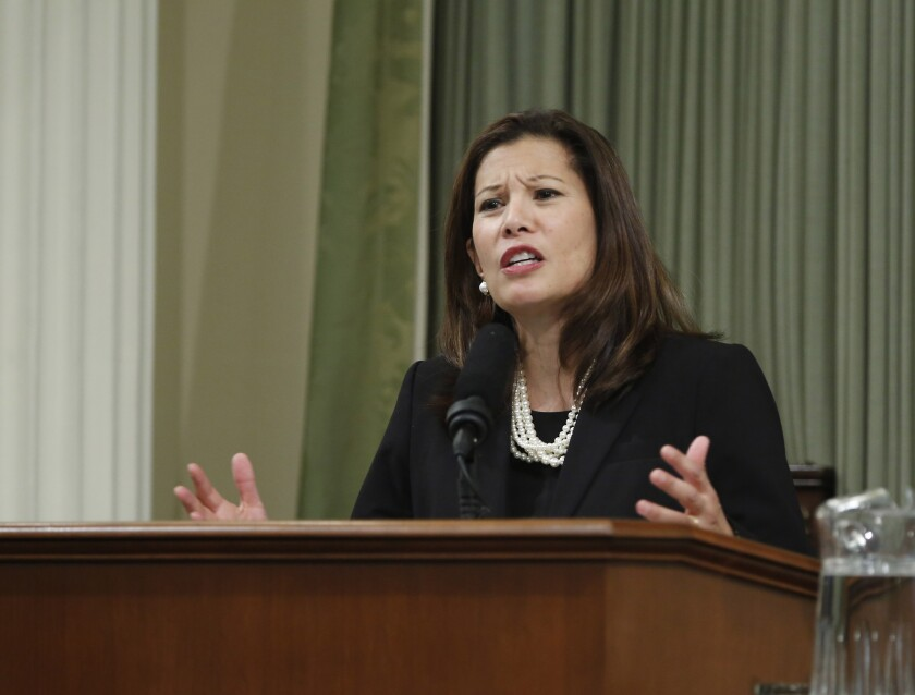 California Chief Justice Tani Cantil-Sakauye has called for an emergency rule to prevent courts from requiring drivers to pay traffic tickets before they can go to court to contest them.