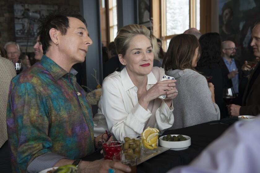 "Actors Paul Reubens and Sharon Stone in filmmaker Steven Soderbergh's new HBO miniseries, ""Mosaic."""