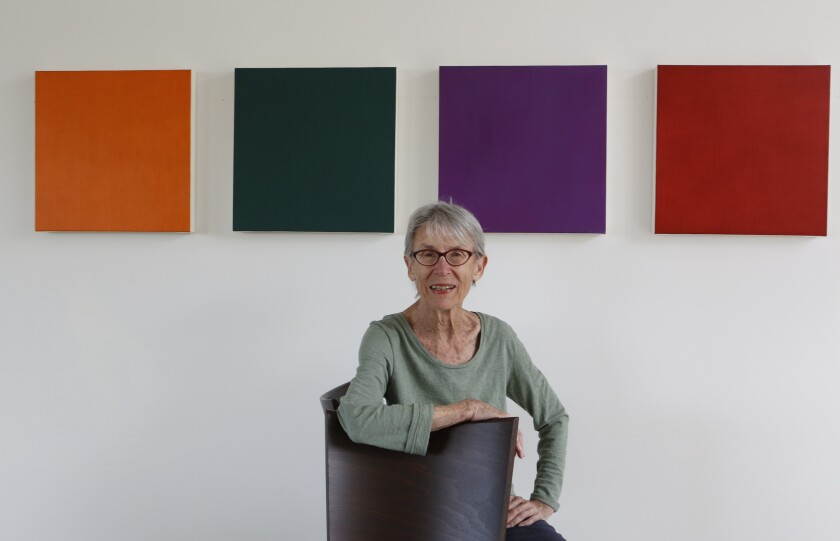 Pomona-born painter Marcia Hafif has had a nearly half-century career that has taken her to New York and Europe. She now has a solo museum show at the Laguna Art Museum — her first in Southern California in 40 years.