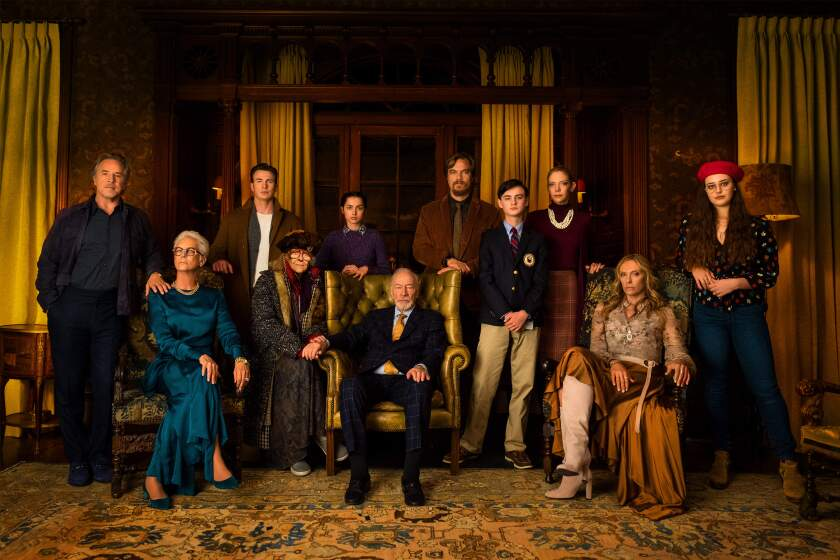 "The ensemble cast of ""Knives Out"" includes (from left) Don Johnson, Jamie Lee Curtis, Chris Evans, C Callan, Ana De Armas, Christopher Plummer, Michael Shannon, Jaeden Martell, Riki Lindholm, Toni Collette and Katherine Langford."