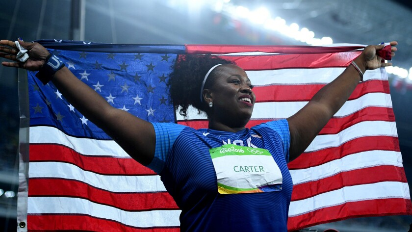 American shot putter Michelle Carter celebrates after winning the gold medal Friday.
