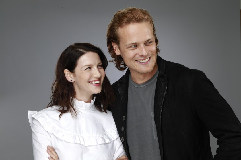 "Caitriona Balfe and Sam Heughan star in the Starz drama series based on the historical time travel novels by Diana Gabaldon, ""Outlander."""