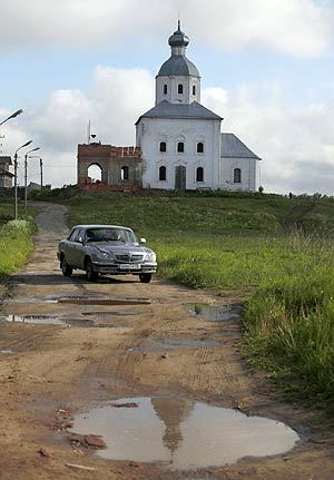 The quality of roads in many cities and towns across Russia is often even worse than that of Russian highways. A street is pictured in the town of Suzdal, a Russian historical architecture landmark in the Vladimir region.