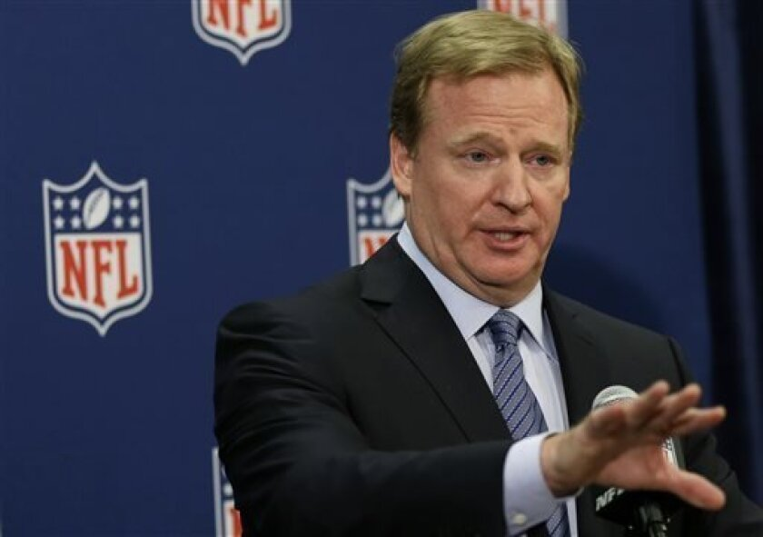 NFL Commissioner Roger Goodell speaks during a news conference at the NFL football spring meetings in Boston, Tuesday, May 21, 2013. (AP Photo/Elise Amendola)
