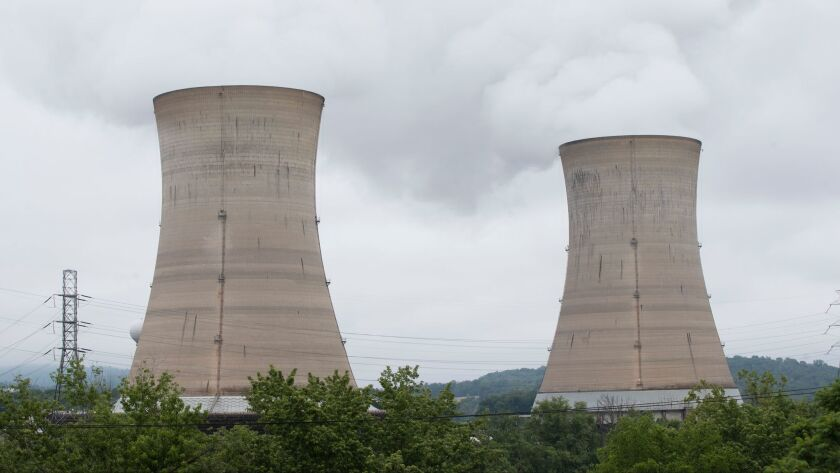 Shown are a cooling towers at the Three Mile Island nuclear power plant in Middletown, Monday, May 2