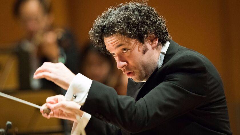 Gustavo Dudamel conducting the Los Angeles Philharmonic in Walt Disney Concert Hall earlier this yea