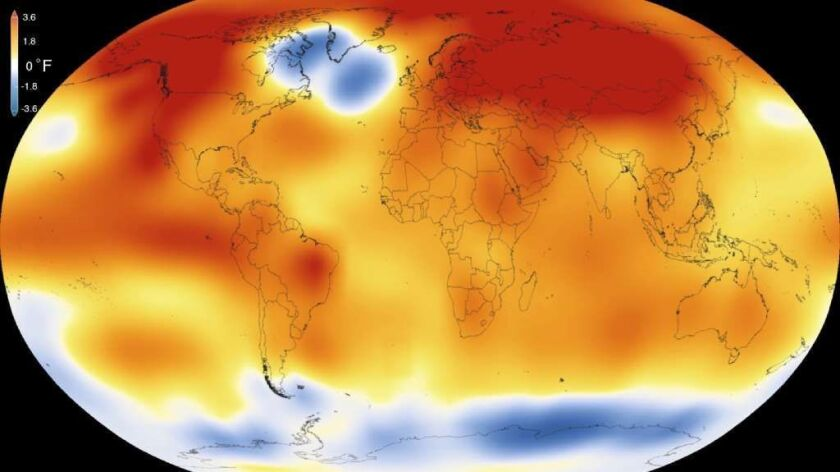 A January 2016 image from NASA shows that 2015 was the warmest year since modern record-keeping began in 1880. A philosophy professor and environmentalist says human's effect on the environment is incomprehensible, and should the species go extinct, the world would be better off.