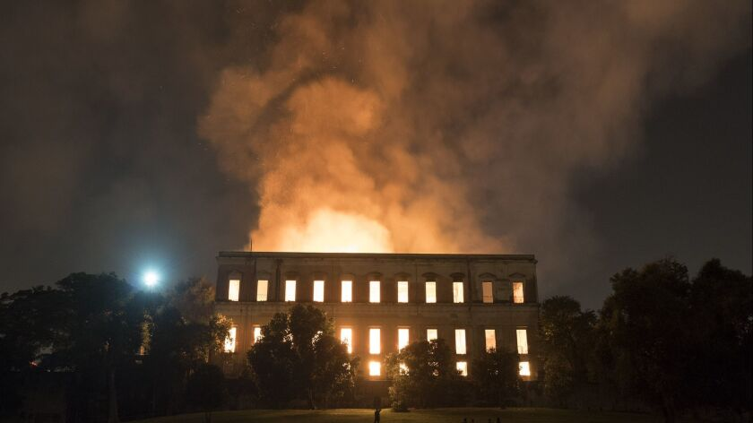 Flames engulf the 200-year-old National Museum of Brazil, in Rio de Janeiro, on Sept. 2.