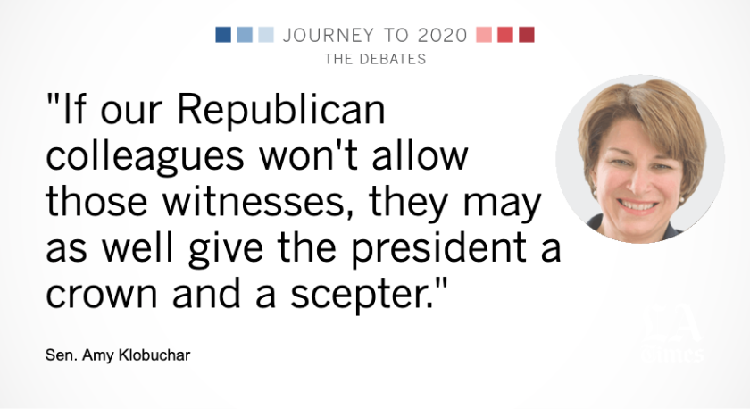 """Amy Klobuchar's face next to her quote, """"If our Republican colleagues won't allow those witnesses, they may as well give the president a crown and a scepter."""""""