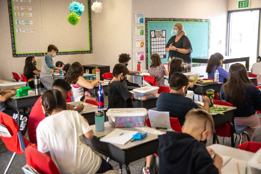 Rya Hege teaches her 4th grade class at T.H.E Leadership Academy on Wednesday, Oct. 21, 2020 in Vista, CA.