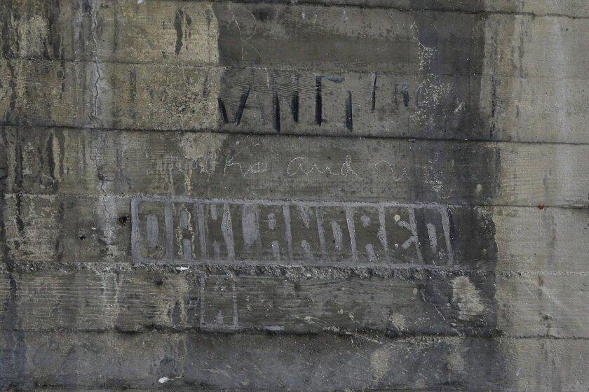 In this Monday, May 16, 2016 photo, some graffiti left by hobos are seen under the bridge in Los Angeles. The writings and drawings, some dating to 1914, were written with utensils like grease pencils or etched into the concrete under a 103-year-old bridge spanning the Los Angeles River. (AP Photo/