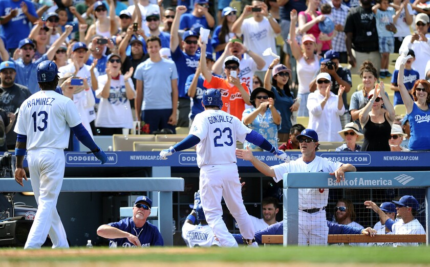 Fans and players celebrate a Dodgers home run on Sept. 7, 2014. Forbes ranked the team's value at $2.4 billion, second-highest in MLB.